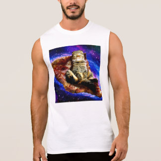 pizza cat - crazy cat - cats in space sleeveless shirt