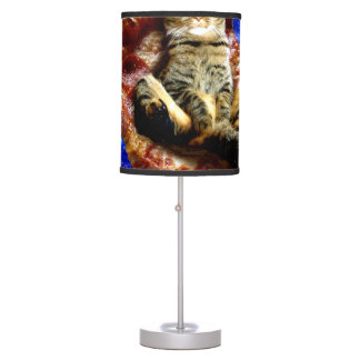 pizza cat - crazy cat - cats in space table lamp