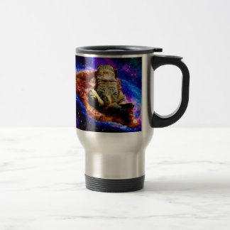 pizza cat - crazy cat - cats in space travel mug