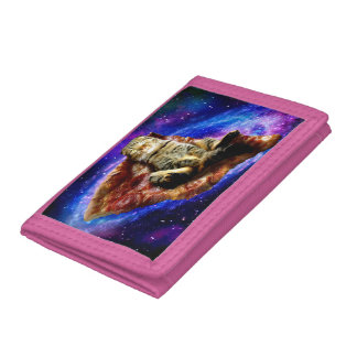 pizza cat - crazy cat - cats in space tri-fold wallet