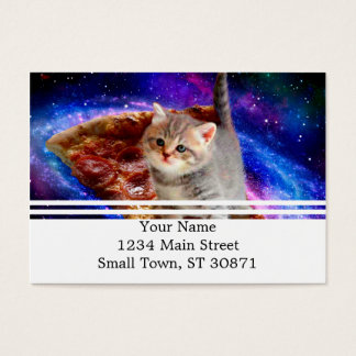 pizza cat - cute cats - kitty - kittens business card