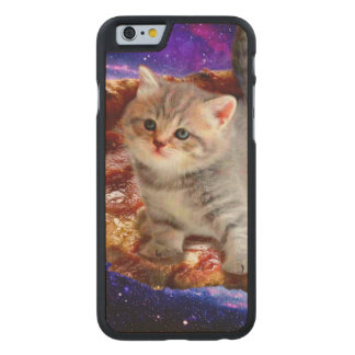 pizza cat - cute cats - kitty - kittens carved maple iPhone 6 case
