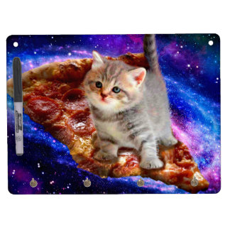 pizza cat - cute cats - kitty - kittens dry erase board with keychain holder