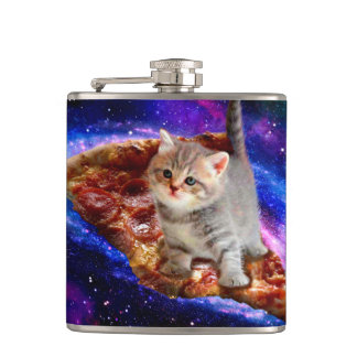 pizza cat - cute cats - kitty - kittens hip flask
