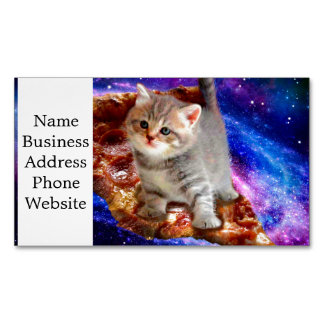 pizza cat - cute cats - kitty - kittens 	Magnetic business card