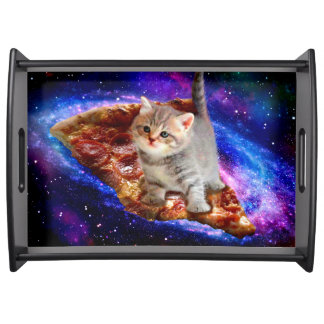 pizza cat - cute cats - kitty - kittens serving tray