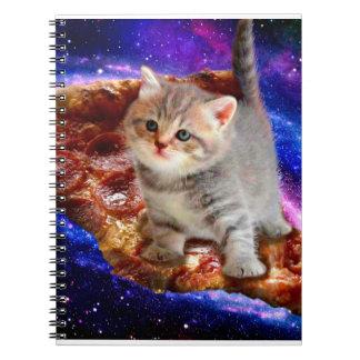 pizza cat - cute cats - kitty - kittens spiral notebook