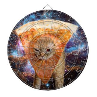 Pizza Cat in Space Wearing Pizza Slice Dartboard