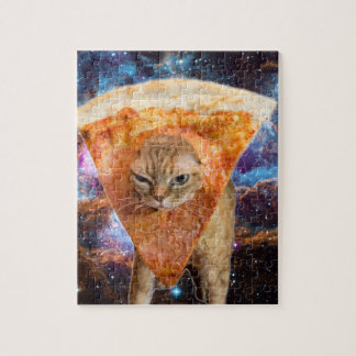 Pizza Cat in Space Wearing Pizza Slice Jigsaw Puzzle