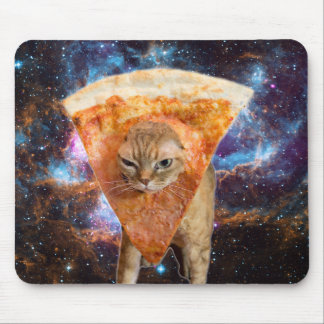 Pizza Cat in Space Wearing Pizza Slice Mouse Pad