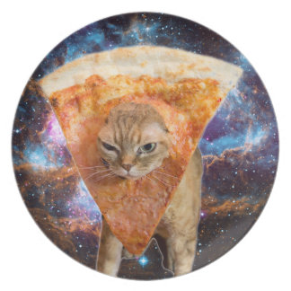Pizza Cat in Space Wearing Pizza Slice Plate
