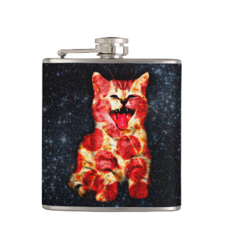 pizza cat - kitty - pussycat hip flask