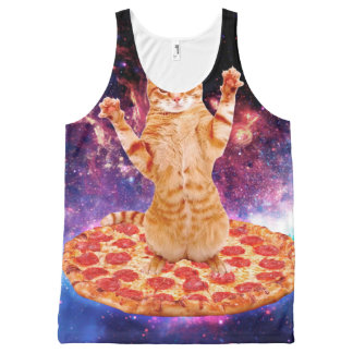 pizza cat - orange cat - space cat All-Over-Print tank top