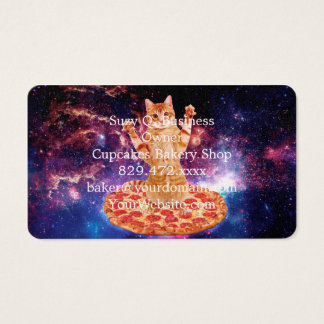 pizza cat - orange cat - space cat business card