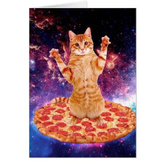 pizza cat - orange cat - space cat card