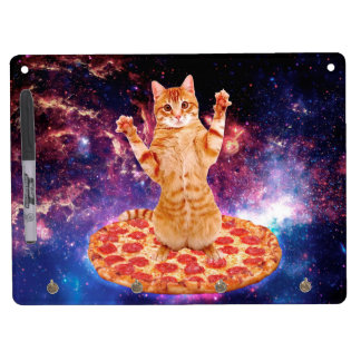 pizza cat - orange cat - space cat dry erase board with keychain holder