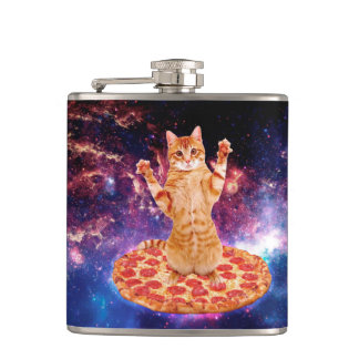 pizza cat - orange cat - space cat hip flask