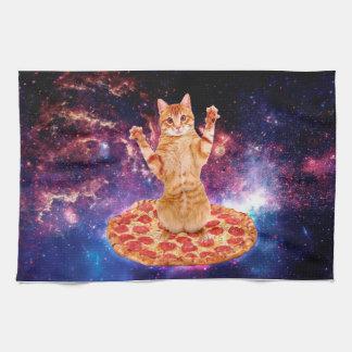 pizza cat - orange cat - space cat kitchen towel
