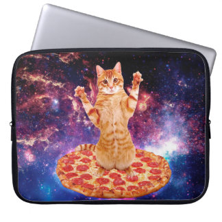pizza cat - orange cat - space cat laptop computer sleeve