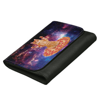 pizza cat - orange cat - space cat leather wallet