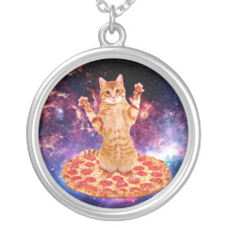 pizza cat - orange cat - space cat silver plated necklace