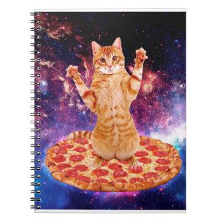 pizza cat - orange cat - space cat spiral notebook