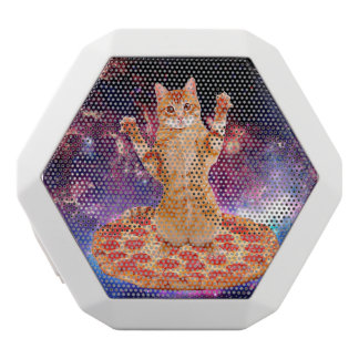 pizza cat - orange cat - space cat white bluetooth speaker