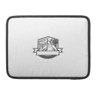 Pizza Chef Pizza Moon Palmetto Tree Shield Retro MacBook Pro Sleeve