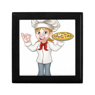 Pizza Chef Woman Cartoon Character Gift Box