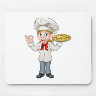 Pizza Chef Woman Cartoon Character Mouse Pad