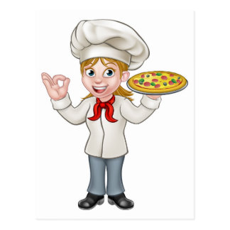 Pizza Chef Woman Cartoon Character Postcard