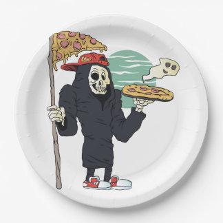Pizza delivery reaper grim 9 inch paper plate