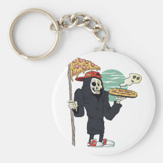 Pizza delivery reaper grim basic round button keychain