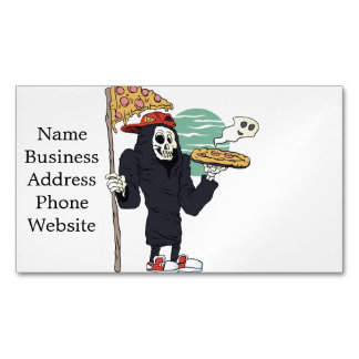 Pizza delivery reaper grim magnetic business card