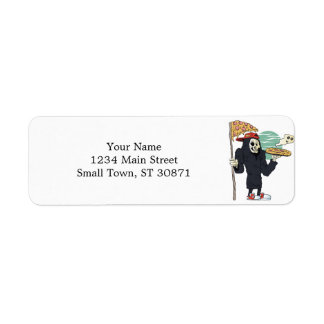 Pizza delivery reaper grim return address label