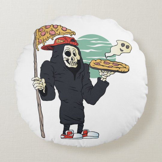 Pizza delivery reaper grim round pillow