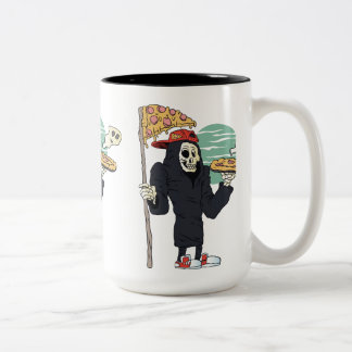 Pizza delivery reaper grim Two-Tone coffee mug