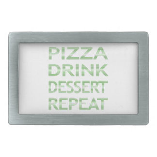 PIZZA DRINK DESSERT REPEAT  - strips - blue Belt Buckles