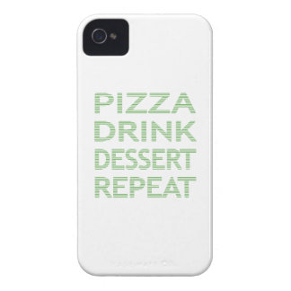 PIZZA DRINK DESSERT REPEAT  - strips - blue iPhone 4 Case-Mate Case