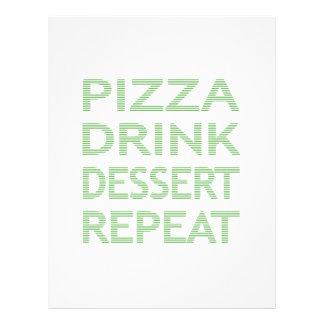 PIZZA DRINK DESSERT REPEAT  - strips - blue Letterhead
