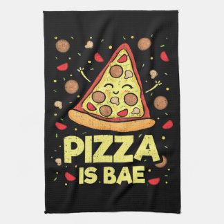 Pizza Is Bae - Cute Kawaii Funny Cartoon - Novelty Kitchen Towel