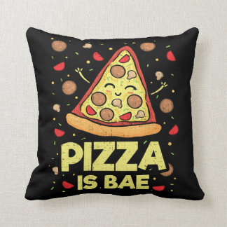Pizza Is Bae - Cute Kawaii Funny Cartoon - Novelty Throw Pillow