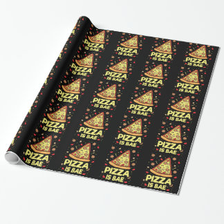 Pizza Is Bae - Cute Kawaii Funny Cartoon - Novelty Wrapping Paper