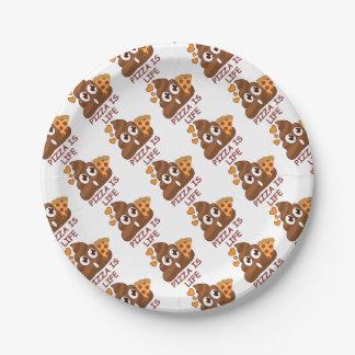 Pizza Is Life Poop Emoji Paper Plate