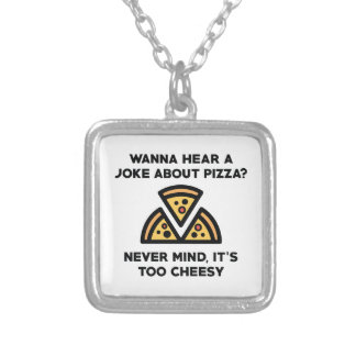 Pizza Joke Silver Plated Necklace