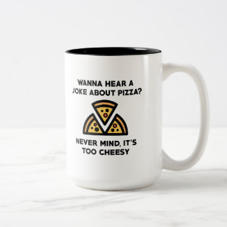 Pizza Joke Two-Tone Coffee Mug