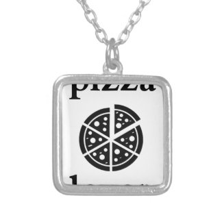 pizza lover silver plated necklace