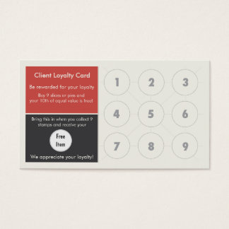 Pizza Loyalty Business Card Stamp Card