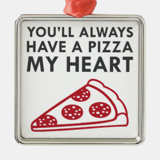 Pizza My Heart Metal Ornament