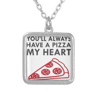 Pizza My Heart Silver Plated Necklace